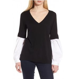NWT Trouve V-Neck Woven Balloon Sleeve Sweater